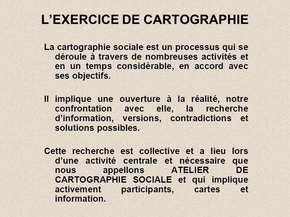 LEXERCICE DE CARTOGRAPHIE La cartographie sociale est un processus qui se déroule à travers de nombreuses activités et en un temps considérable, en ac