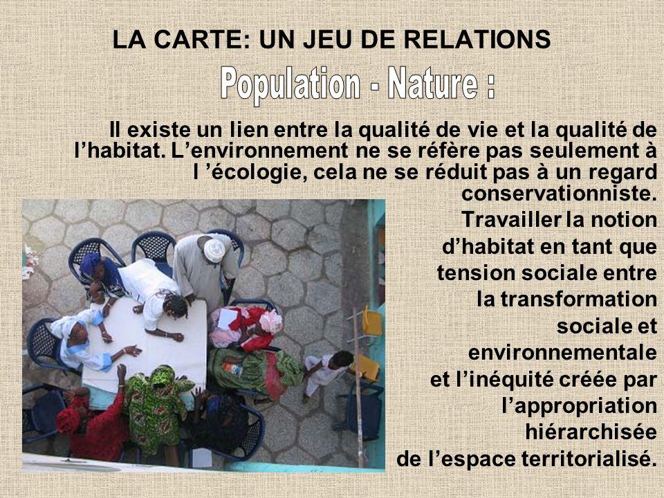 LA CARTE: UN JEU DE RELATIONS Il existe un lien entre la qualité de vie et la qualité de lhabitat. Lenvironnement ne se réfère pas seulement à l écolo