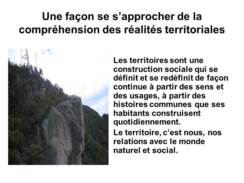 Une façon se sapprocher de la compréhension des réalités territoriales Les territoires sont une construction sociale qui se définit et se redéfinit de