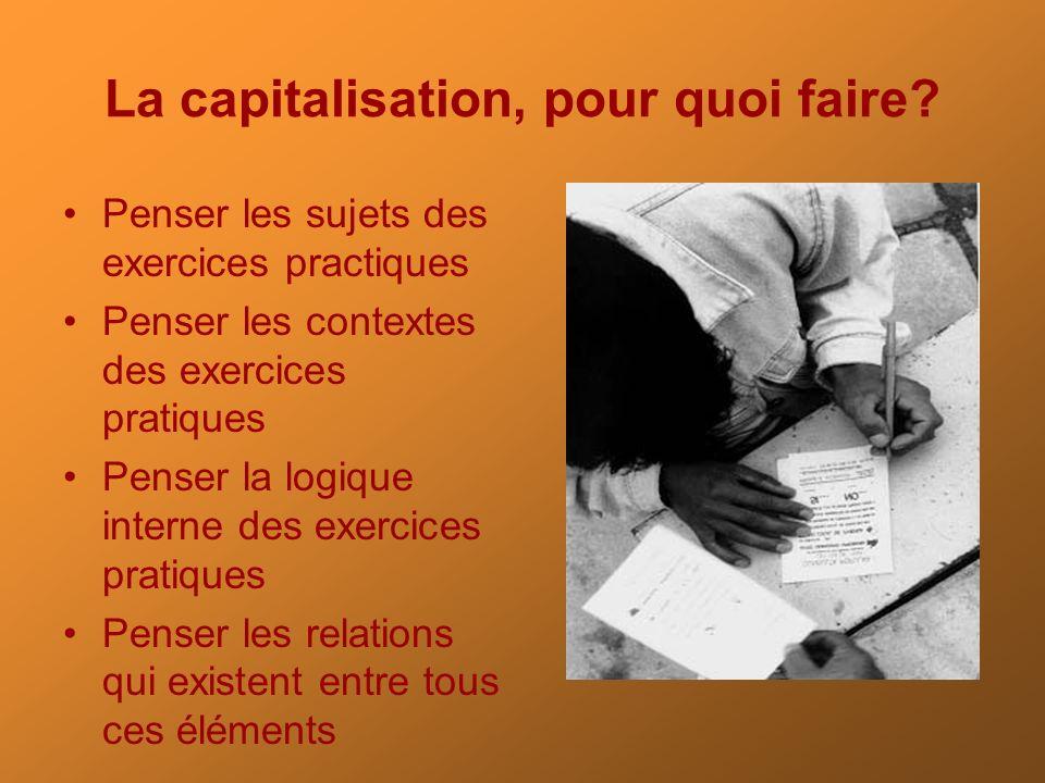 La capitalisation, pour quoi faire? Penser les sujets des exercices practiques Penser les contextes des exercices pratiques Penser la logique interne