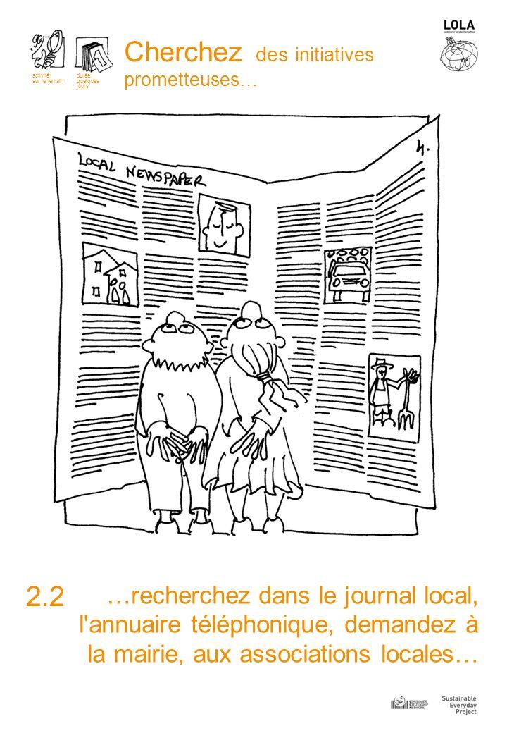 …recherchez dans le journal local, l annuaire téléphonique, demandez à la mairie, aux associations locales… 2.2 Cherchez des initiatives prometteuses… activité: sur le terrain durée: quelques jours