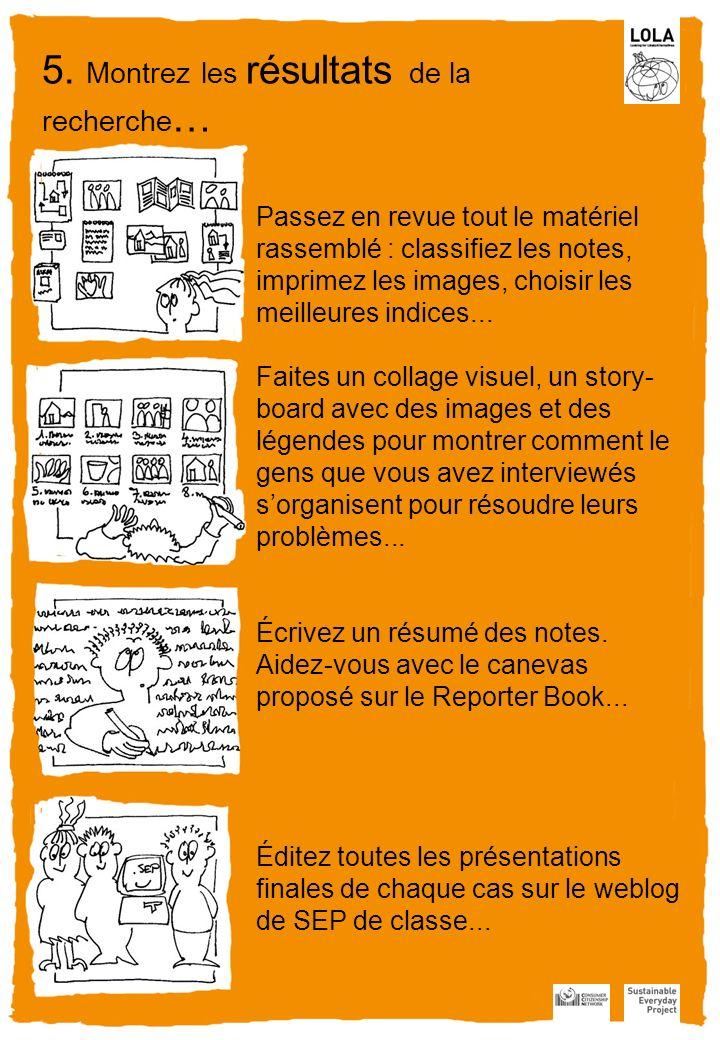 Passez en revue tout le matériel rassemblé : classifiez les notes, imprimez les images, choisir les meilleures indices...