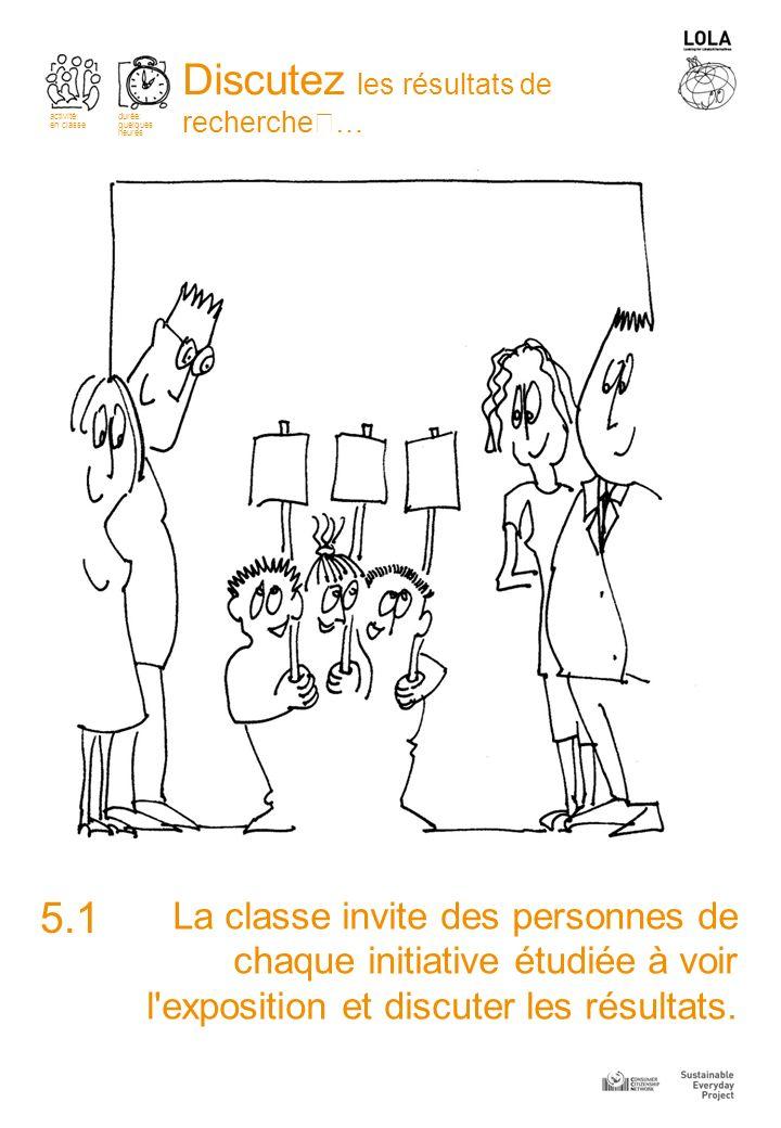 La classe invite des personnes de chaque initiative étudiée à voir l exposition et discuter les résultats.
