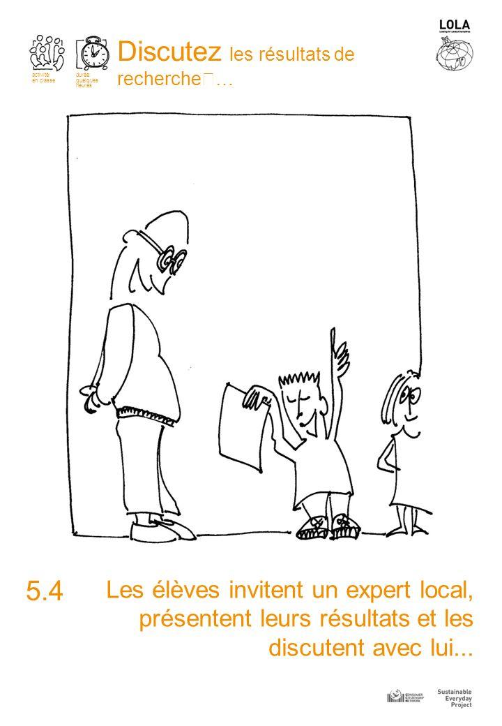 Les élèves invitent un expert local, présentent leurs résultats et les discutent avec lui...