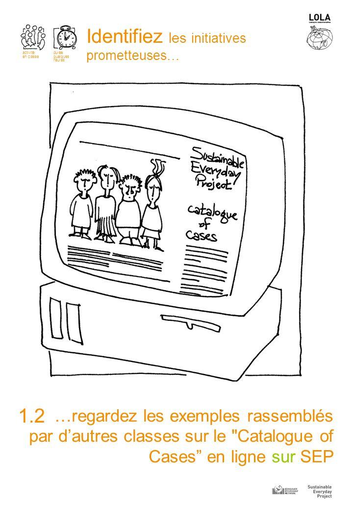 …regardez les exemples rassemblés par dautres classes sur le Catalogue of Cases en ligne sur SEP 1.2 Identifiez les initiatives prometteuses… activité: en classe durée: quelques heures