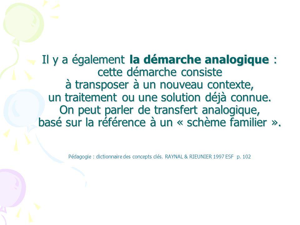 Il y a également la démarche analogique : cette démarche consiste à transposer à un nouveau contexte, un traitement ou une solution déjà connue. On pe