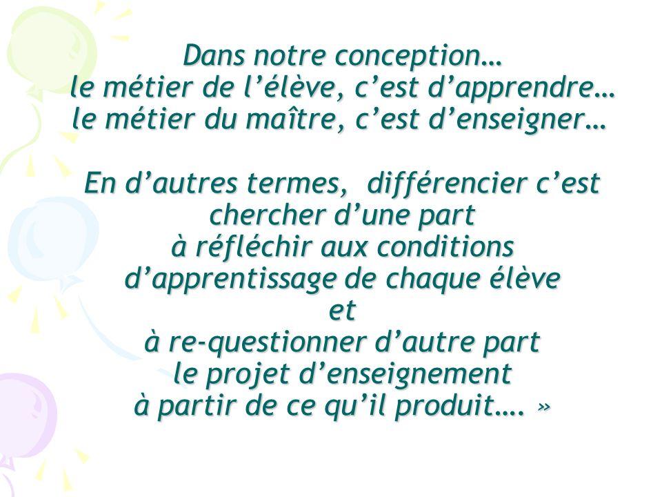 Dune part « éthique » : Reconnaissance à lautre du droit à la différence ; Attention au développement affectif de chaque individu ; Patience et confiance dans les possibilités de chacun ; …………..