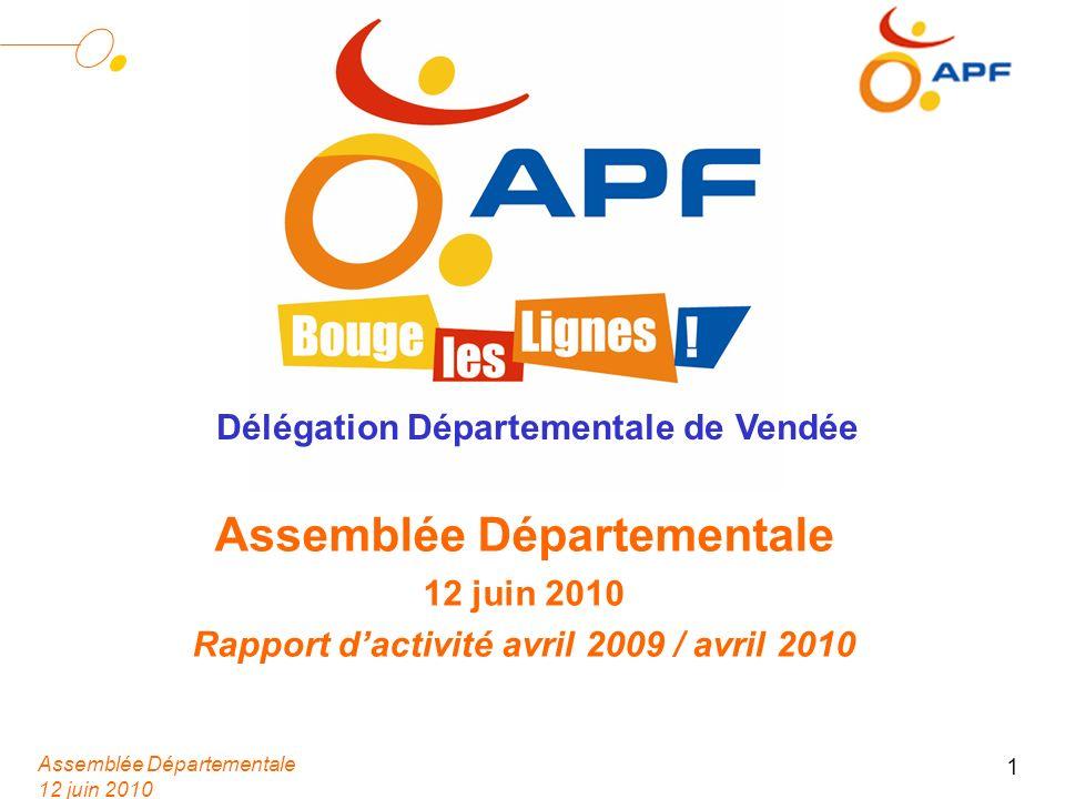 Assemblée Départementale 12 juin 2010 1 Assemblée Départementale 12 juin 2010 Rapport dactivité avril 2009 / avril 2010 Délégation Départementale de Vendée