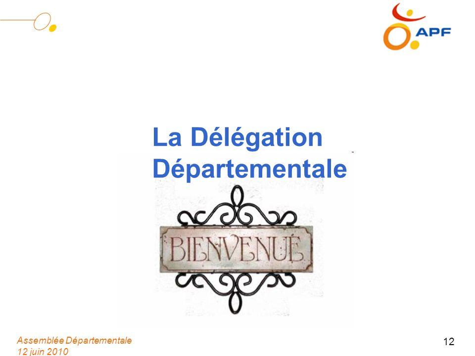 Assemblée Départementale 12 juin 2010 12 La Délégation Départementale