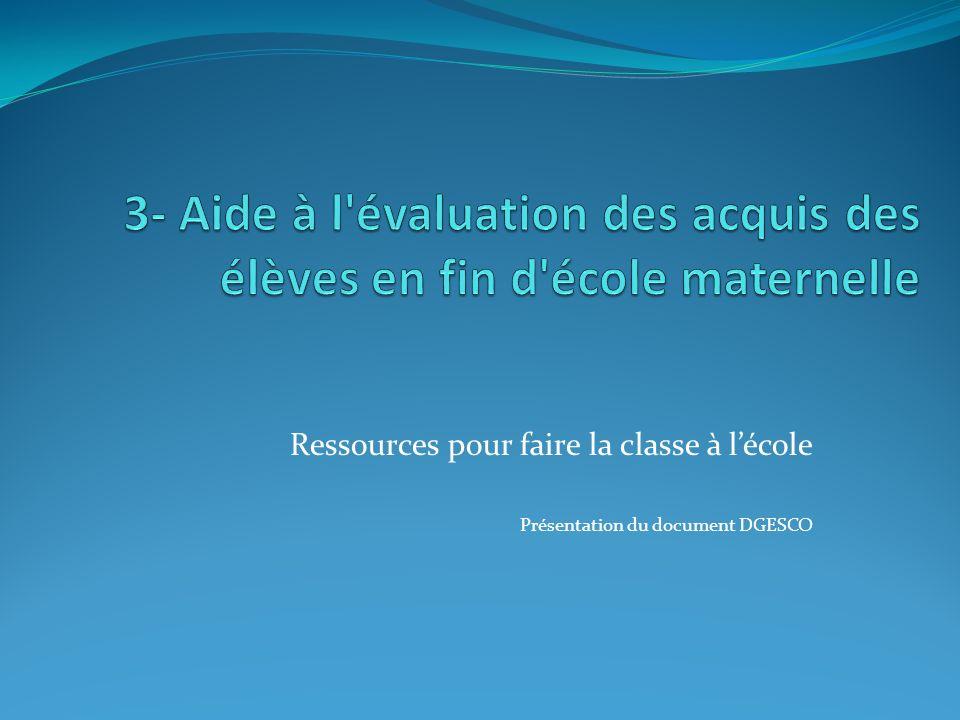 Ressources pour faire la classe à lécole Présentation du document DGESCO