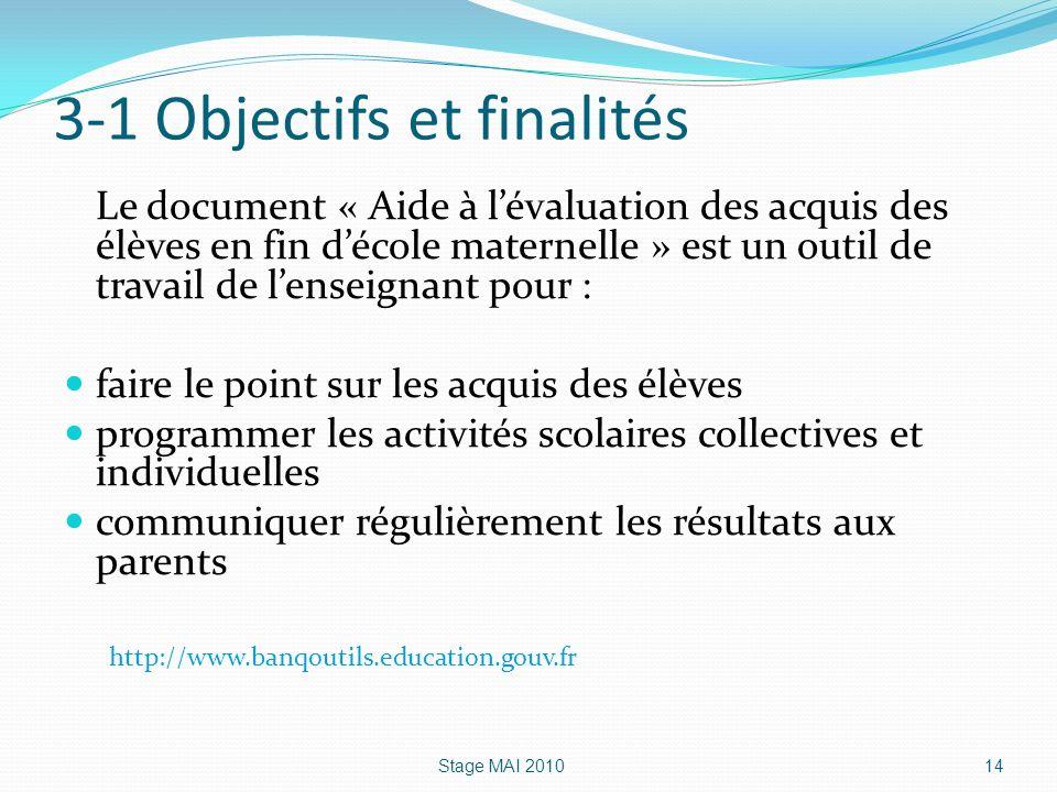3-1 Objectifs et finalités Le document « Aide à lévaluation des acquis des élèves en fin décole maternelle » est un outil de travail de lenseignant po