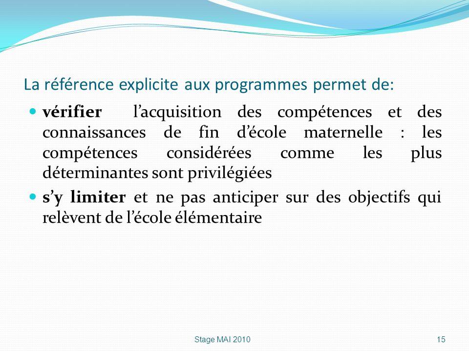 La référence explicite aux programmes permet de: vérifier lacquisition des compétences et des connaissances de fin décole maternelle : les compétences