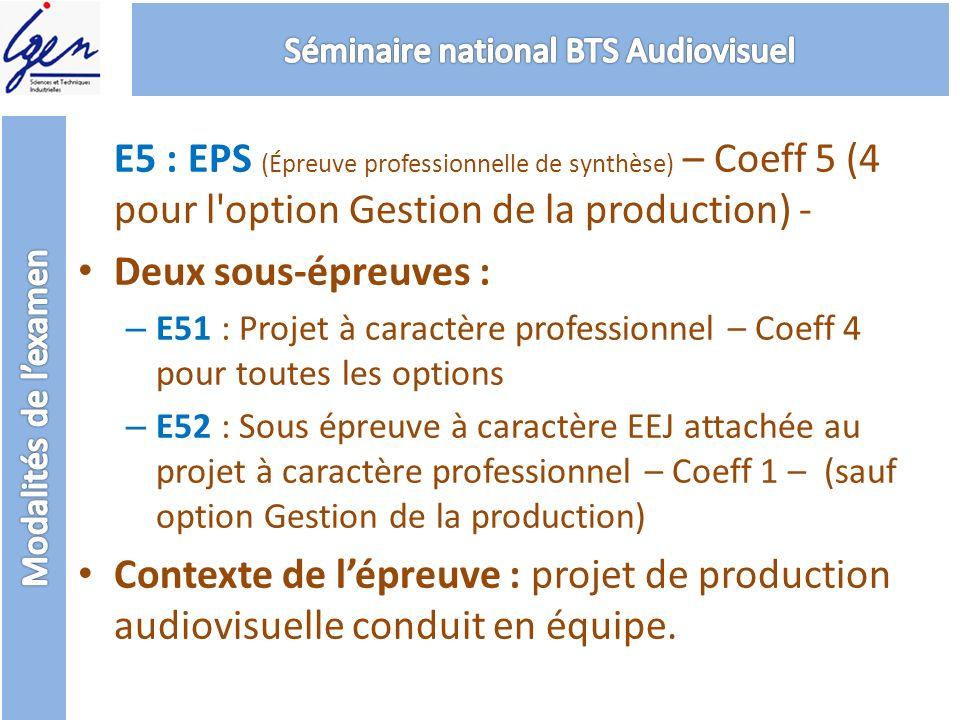 E5 : EPS (Épreuve professionnelle de synthèse) – Coeff 5 (4 pour l'option Gestion de la production) - Deux sous-épreuves : – E51 : Projet à caractère