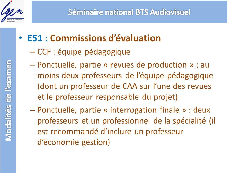 E51 : Commissions dévaluation – CCF : équipe pédagogique – Ponctuelle, partie « revues de production » : au moins deux professeurs de léquipe pédagogi
