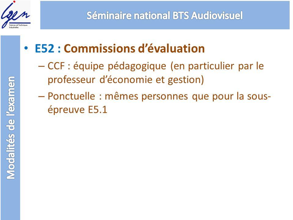 E52 : Commissions dévaluation – CCF : équipe pédagogique (en particulier par le professeur déconomie et gestion) – Ponctuelle : mêmes personnes que po