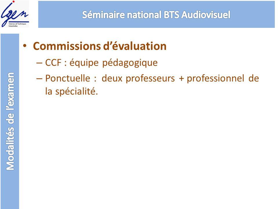 Commissions dévaluation – CCF : équipe pédagogique – Ponctuelle : deux professeurs + professionnel de la spécialité.