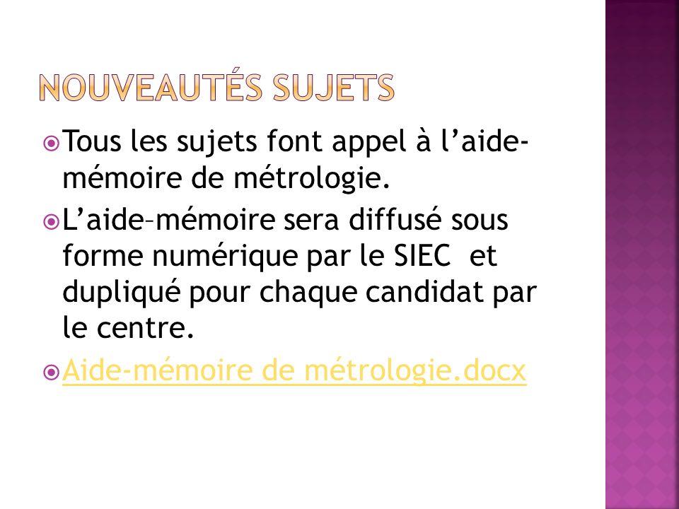 Tous les sujets font appel à laide- mémoire de métrologie. Laide–mémoire sera diffusé sous forme numérique par le SIEC et dupliqué pour chaque candida