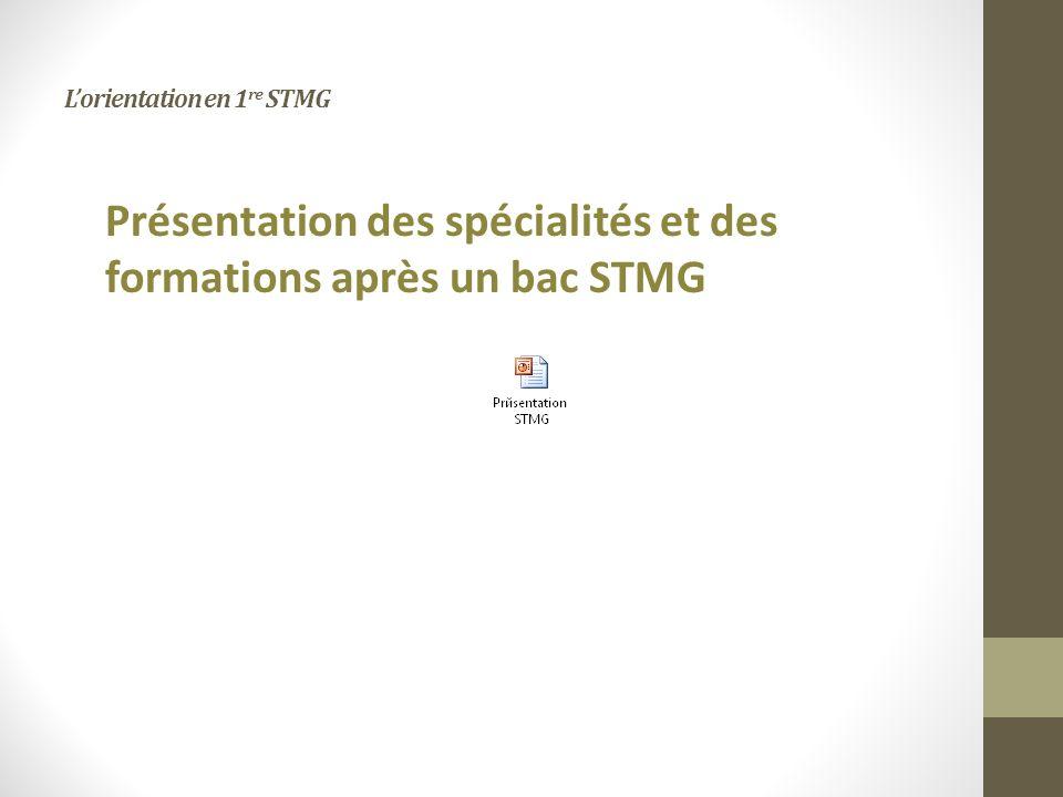 Lorientation en 1 re STMG Présentation des spécialités et des formations après un bac STMG