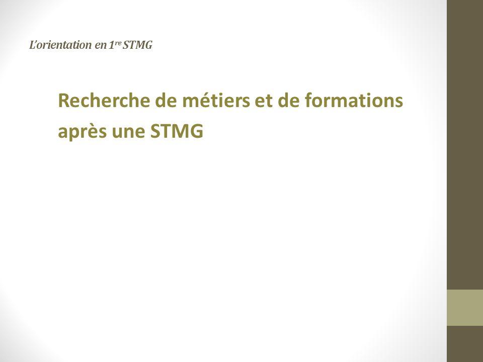 Lorientation en 1 re STMG Recherche de métiers et de formations après une STMG