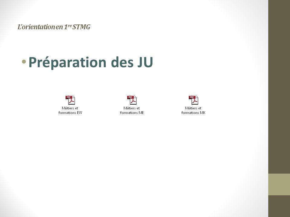 Lorientation en 1 re STMG Préparation des JU