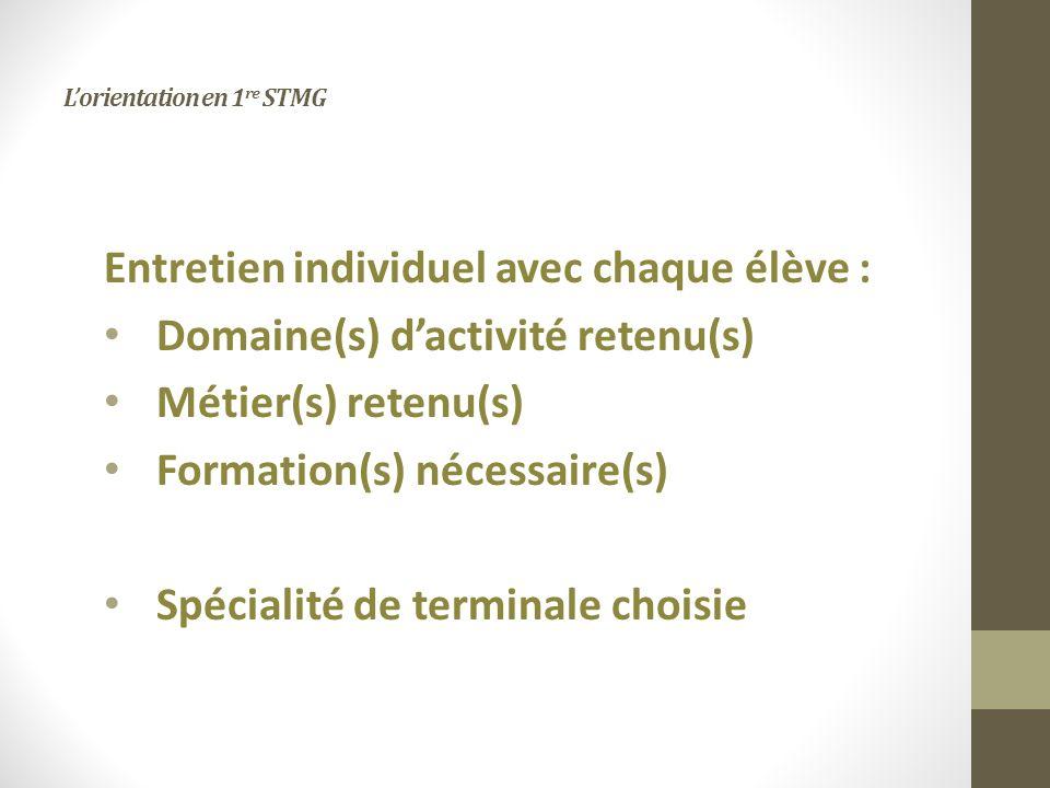 Lorientation en 1 re STMG Entretien individuel avec chaque élève : Domaine(s) dactivité retenu(s) Métier(s) retenu(s) Formation(s) nécessaire(s) Spécialité de terminale choisie