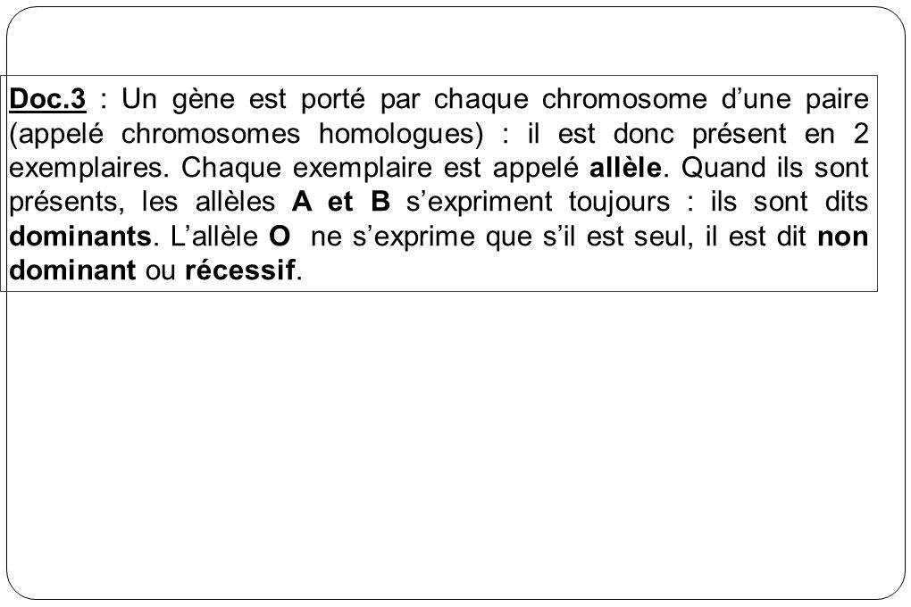 Doc.3 : Un gène est porté par chaque chromosome dune paire (appelé chromosomes homologues) : il est donc présent en 2 exemplaires. Chaque exemplaire e