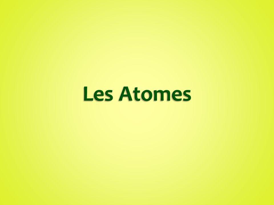 Les unités de bases de la matière (particules) sont nommés des atomes Chaque élément est formé avec une seule sorte d`atome Il y a plus que 100 différents éléments alors il y a plus que 100 différentes types d`atomes.