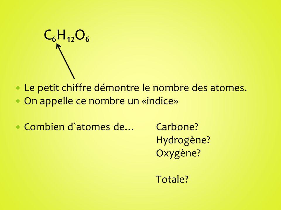 CHO Le petit chiffre démontre le nombre des atomes. On appelle ce nombre un «indice» Combien d`atomes de… Carbone? Hydrogène? Oxygène? Totale?