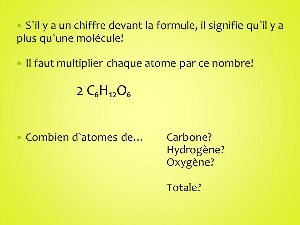 S`il y a un chiffre devant la formule, il signifie qu`il y a plus qu`une molécule! Il faut multiplier chaque atome par ce nombre! 2 CHO Combien d`atom