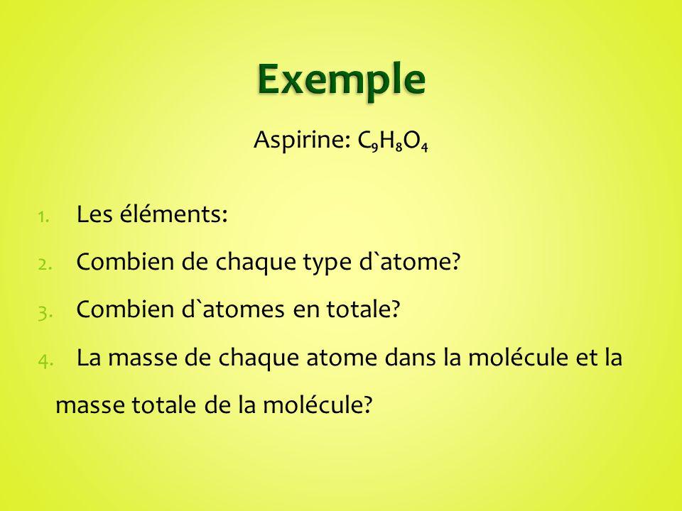 Aspirine: CHO 1. Les éléments: 2. Combien de chaque type d`atome? 3. Combien d`atomes en totale? 4. La masse de chaque atome dans la molécule et la ma