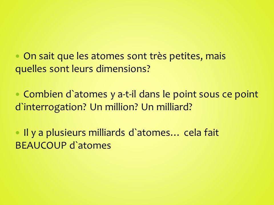 On sait que les atomes sont très petites, mais quelles sont leurs dimensions? Combien d`atomes y a-t-il dans le point sous ce point d`interrogation? U