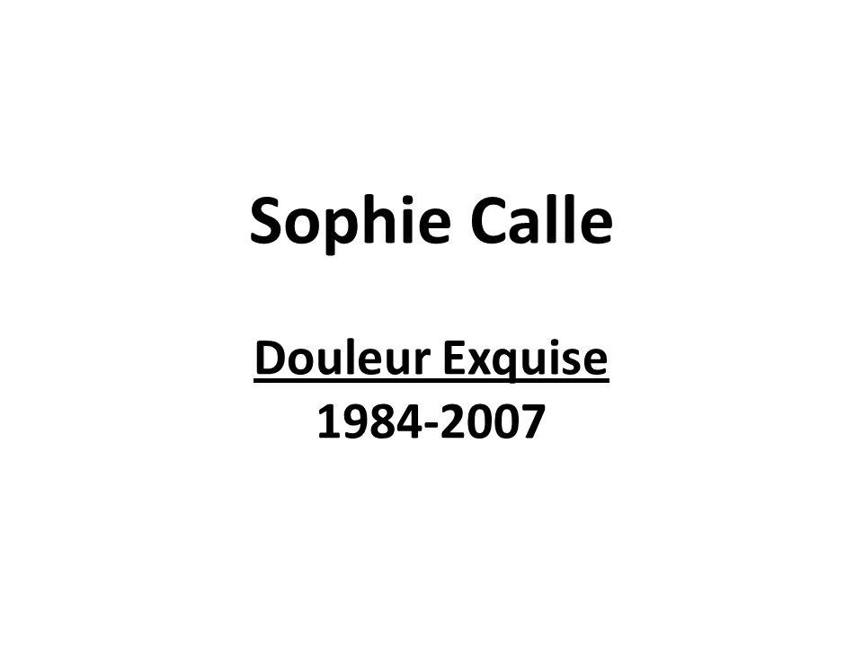 Sous la forme dinstallations, de photographies, de textes, de vidéos et de films, Sophie Calle traite de sa vie et de celle des autres, de la façon dont ils la vivent et la ressentent.