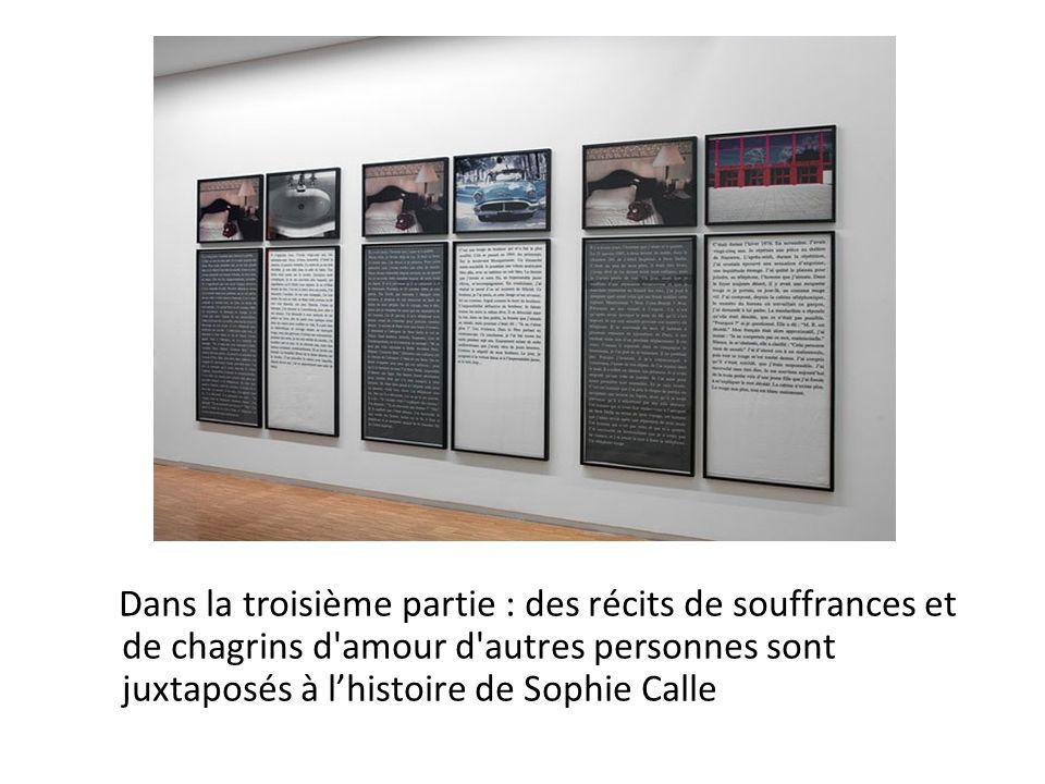 Dans la troisième partie : des récits de souffrances et de chagrins d amour d autres personnes sont juxtaposés à lhistoire de Sophie Calle