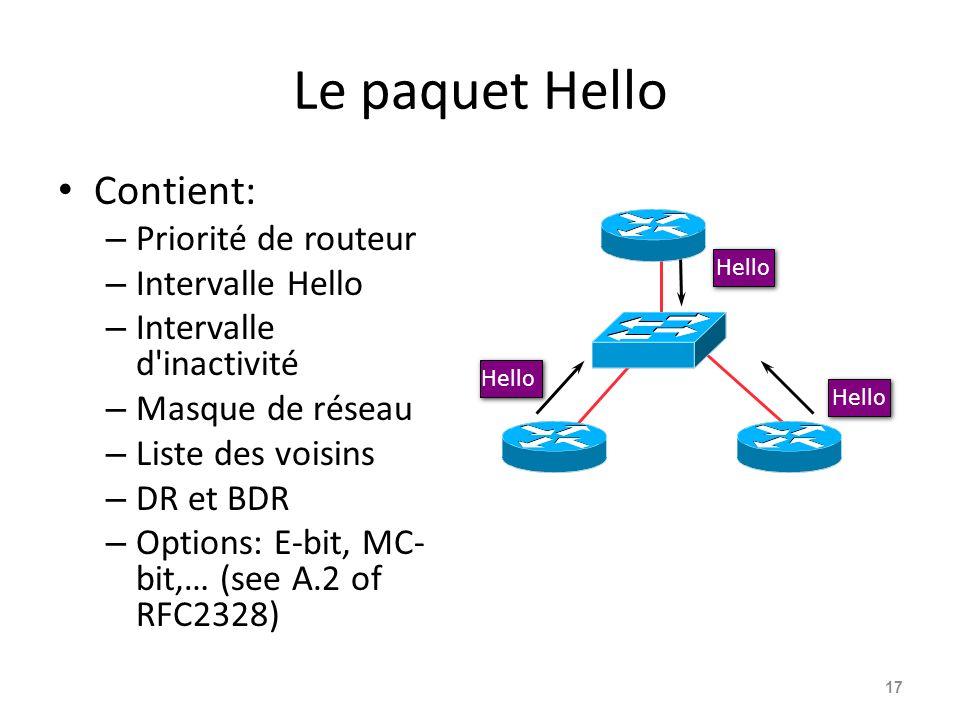 Le paquet Hello Contient: – Priorité de routeur – Intervalle Hello – Intervalle d inactivité – Masque de réseau – Liste des voisins – DR et BDR – Options: E-bit, MC- bit,… (see A.2 of RFC2328) 17 Hello