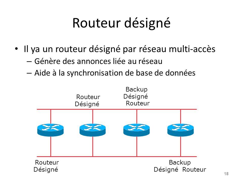 Routeur désigné Il ya un routeur désigné par réseau multi-accès – Génère des annonces liée au réseau – Aide à la synchronisation de base de données 18 Routeur Désigné Routeur Désigné Backup Désigné Routeur Backup Désigné Routeur