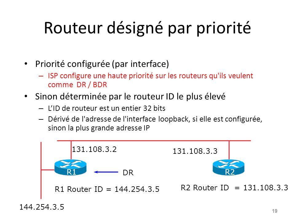 Routeur désigné par priorité Priorité configurée (par interface) – ISP configure une haute priorité sur les routeurs qu ils veulent comme DR / BDR Sinon déterminée par le routeur ID le plus élevé – LID de routeur est un entier 32 bits – Dérivé de l adresse de l interface loopback, si elle est configurée, sinon la plus grande adresse IP 19 144.254.3.5 R2 Router ID = 131.108.3.3 131.108.3.2 131.108.3.3 R1 Router ID = 144.254.3.5 DR R2R1