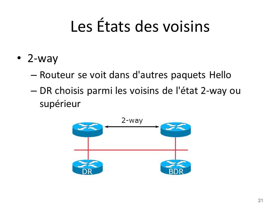 Les États des voisins 2-way – Routeur se voit dans d autres paquets Hello – DR choisis parmi les voisins de l état 2-way ou supérieur 21 2-way DRBDR