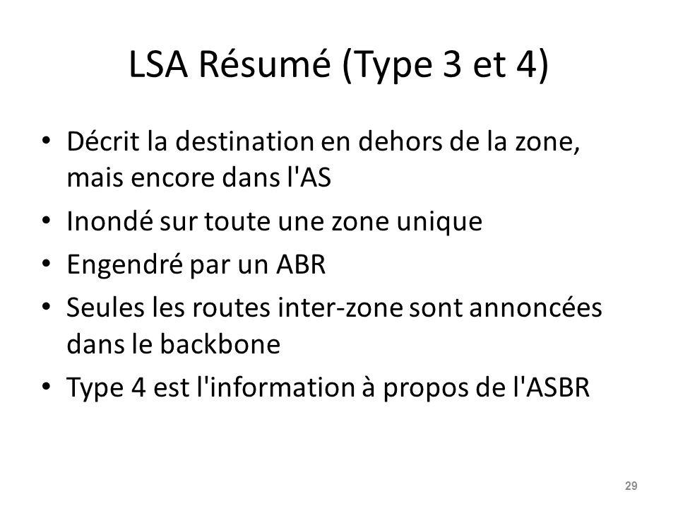 LSA Résumé (Type 3 et 4) Décrit la destination en dehors de la zone, mais encore dans l AS Inondé sur toute une zone unique Engendré par un ABR Seules les routes inter-zone sont annoncées dans le backbone Type 4 est l information à propos de l ASBR 29