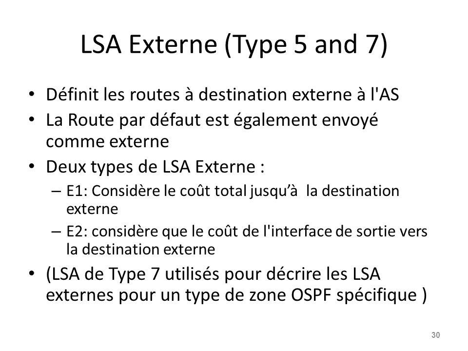 LSA Externe (Type 5 and 7) Définit les routes à destination externe à l AS La Route par défaut est également envoyé comme externe Deux types de LSA Externe : – E1: Considère le coût total jusquà la destination externe – E2: considère que le coût de l interface de sortie vers la destination externe (LSA de Type 7 utilisés pour décrire les LSA externes pour un type de zone OSPF spécifique ) 30