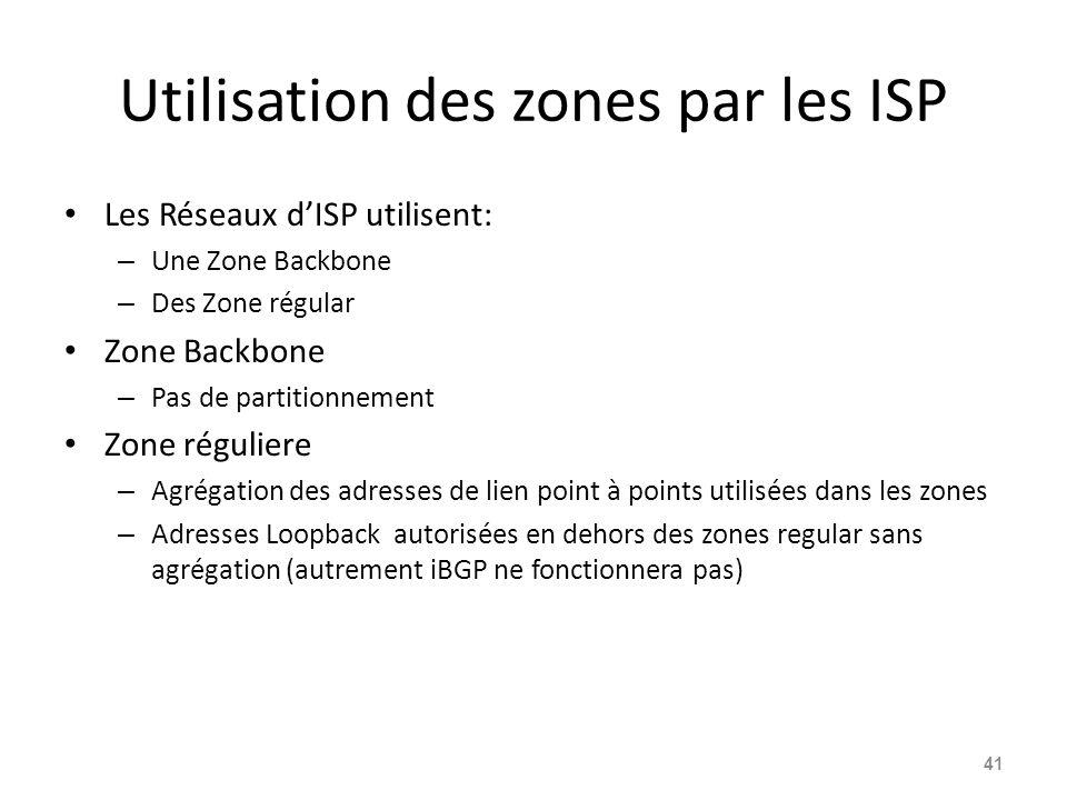 Utilisation des zones par les ISP Les Réseaux dISP utilisent: – Une Zone Backbone – Des Zone régular Zone Backbone – Pas de partitionnement Zone réguliere – Agrégation des adresses de lien point à points utilisées dans les zones – Adresses Loopback autorisées en dehors des zones regular sans agrégation (autrement iBGP ne fonctionnera pas) 41