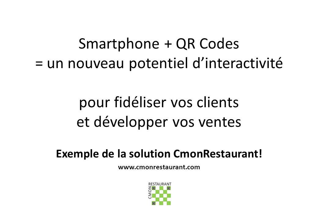 Smartphone + QR Codes = un nouveau potentiel dinteractivité pour fidéliser vos clients et développer vos ventes Exemple de la solution CmonRestaurant!