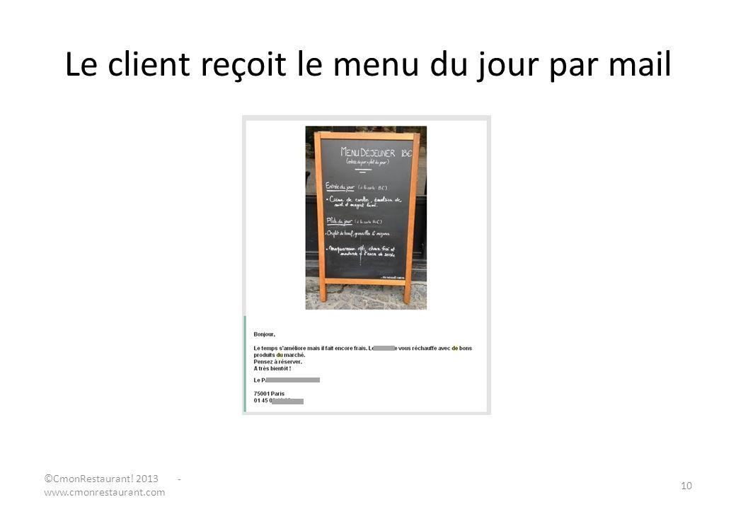 Le client reçoit le menu du jour par mail 10 ©CmonRestaurant! 2013 - www.cmonrestaurant.com