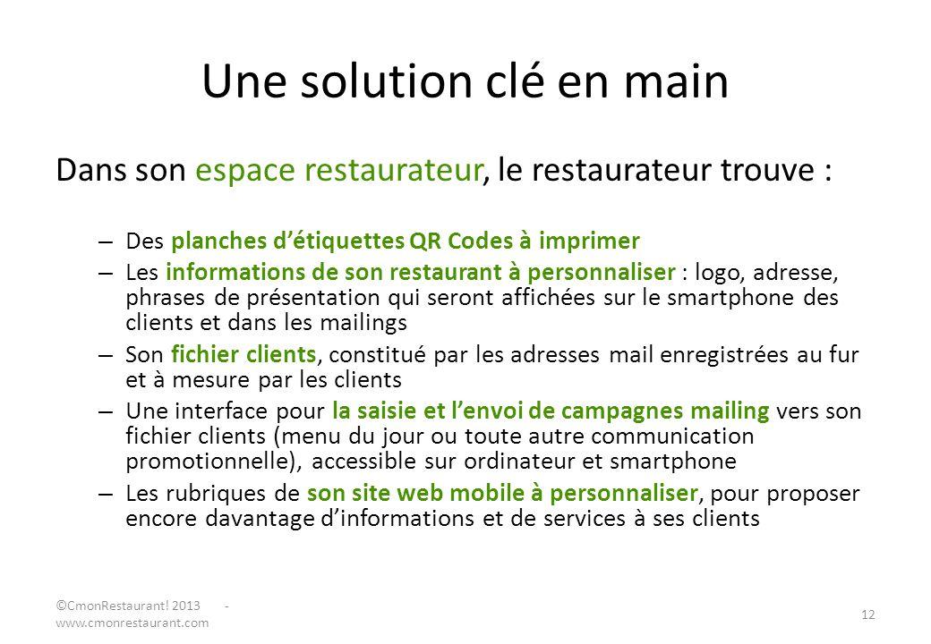 Une solution clé en main Dans son espace restaurateur, le restaurateur trouve : – Des planches détiquettes QR Codes à imprimer – Les informations de s