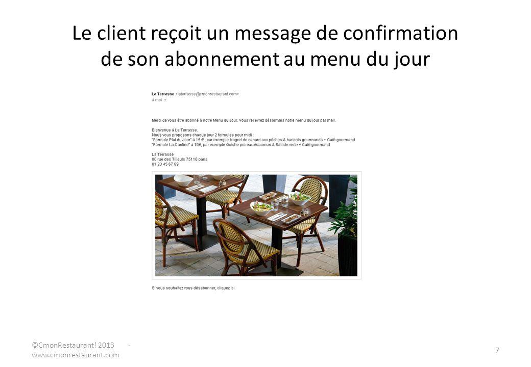 Le client reçoit un message de confirmation de son abonnement au menu du jour 7 ©CmonRestaurant! 2013 - www.cmonrestaurant.com