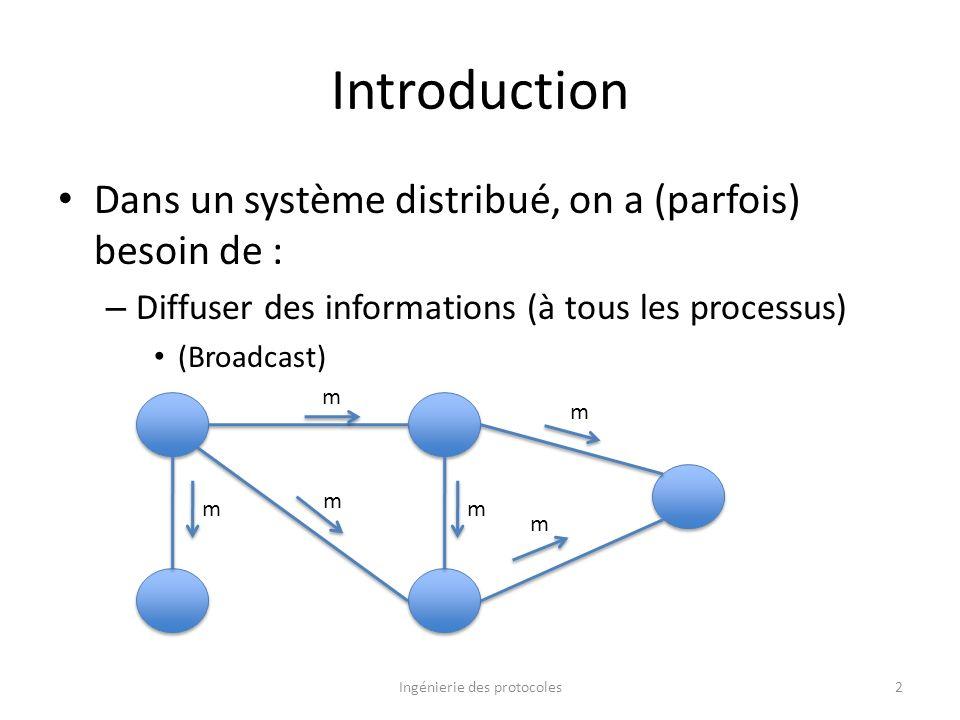 Introduction Dans un système distribué, on a (parfois) besoin de : – Diffuser des informations (à tous les processus) (Broadcast) Ingénierie des proto