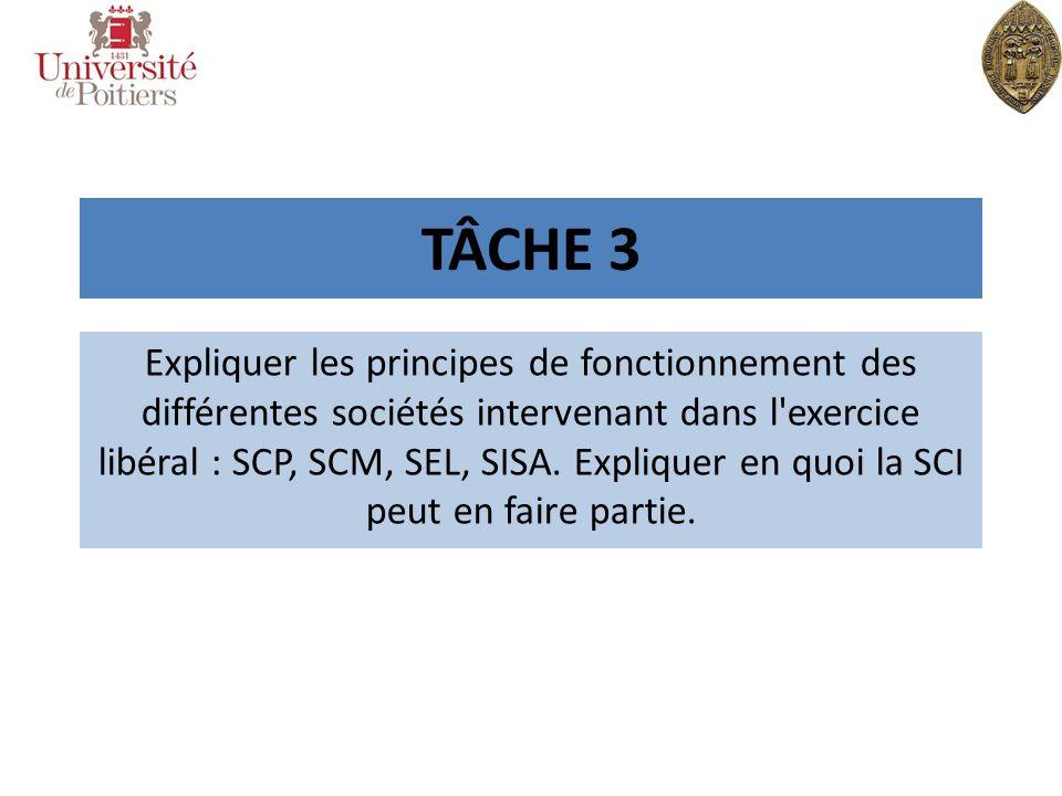 TÂCHE 3 Expliquer les principes de fonctionnement des différentes sociétés intervenant dans l'exercice libéral : SCP, SCM, SEL, SISA. Expliquer en quo