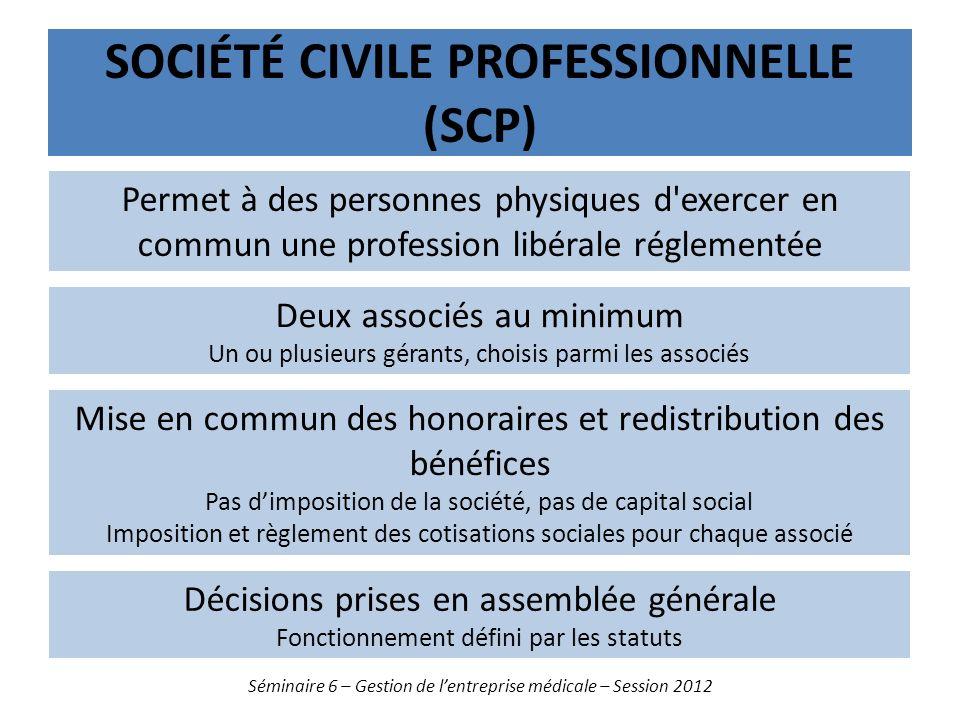 SOCIÉTÉ CIVILE PROFESSIONNELLE (SCP) Séminaire 6 – Gestion de lentreprise médicale – Session 2012 Permet à des personnes physiques d'exercer en commun