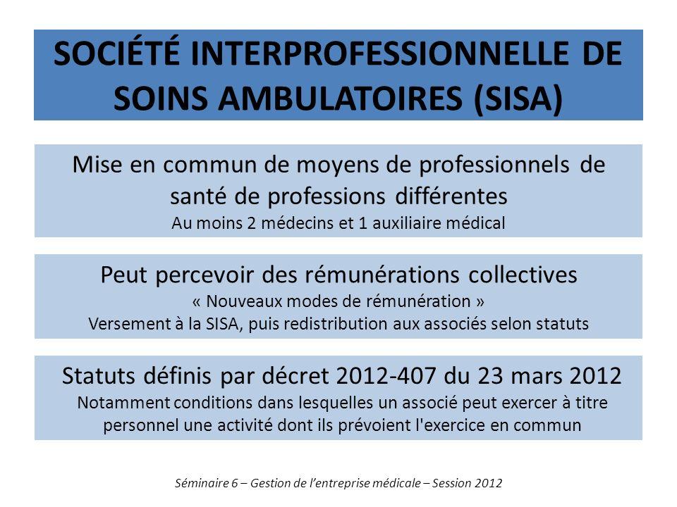 SOCIÉTÉ INTERPROFESSIONNELLE DE SOINS AMBULATOIRES (SISA) Séminaire 6 – Gestion de lentreprise médicale – Session 2012 Mise en commun de moyens de pro