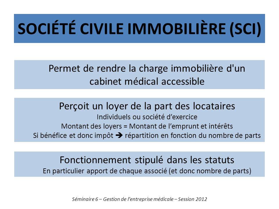 SOCIÉTÉ CIVILE IMMOBILIÈRE (SCI) Séminaire 6 – Gestion de lentreprise médicale – Session 2012 Permet de rendre la charge immobilière d'un cabinet médi