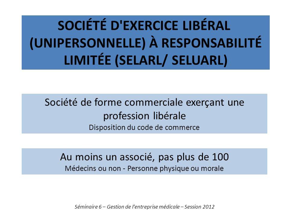 SOCIÉTÉ D'EXERCICE LIBÉRAL (UNIPERSONNELLE) À RESPONSABILITÉ LIMITÉE (SELARL/ SELUARL) Séminaire 6 – Gestion de lentreprise médicale – Session 2012 So